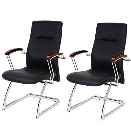 Set 2x sedie ufficio a slitta Cesena ecopelle 70x57x95cm nero
