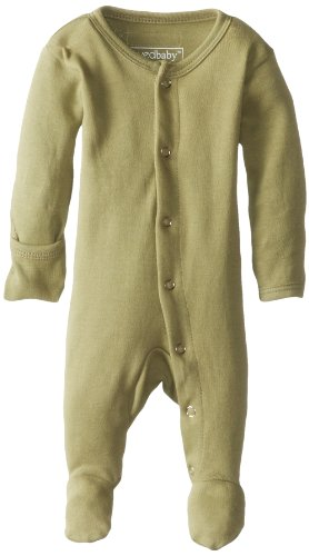L'Ovedbaby Unisex-Baby Organic Cotton Gloved-Sleeve Footed Overall, Sage, 9/12 Months front-874481