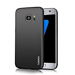 S7 Case, Galaxy S7 Case - TURATA Slim fit [Full Edge Protection Camera Protection] Premium Coated Non Slip Surface Four Layer Paint Designed Case for Samsung Galaxy S7 (Black)