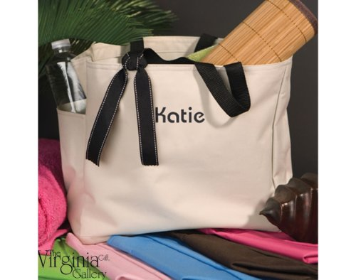 Addie Personalized Tote Bag 600 Denier Polyester Various Colors Available 12x14