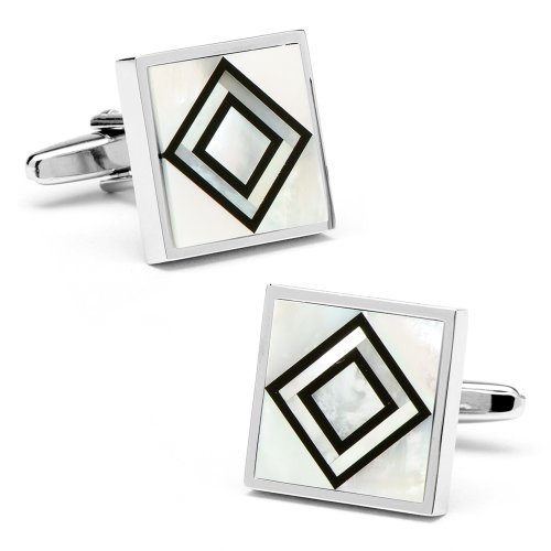 Ox And Bull Mens Plated Mop & Onyx Double Diamond Cufflinks
