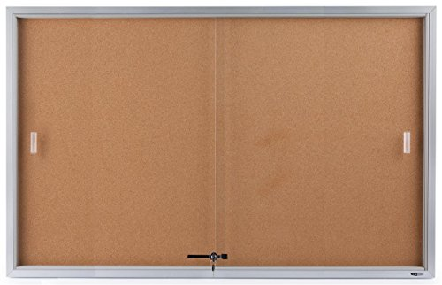 Displays2go 60 x 36 Inches Wall Mountable Enclosed Bulletin Board with Sliding Glass Doors, Cork Board Display Surface (CBSD6036SV) (Glass Door Bulletin Board compare prices)