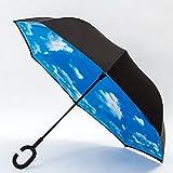 (ナインスコード) 9thCode 【カラーが違う】 C型 逆折り傘 新発想の晴雨兼用濡れない便利な傘 逆さま傘 逆さ傘 スカイ ワンサイズ