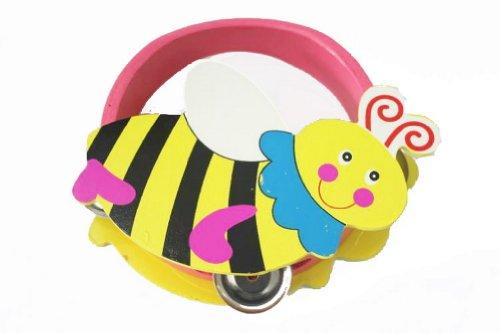 Cute Bee Mini Tambourine Wood Hand Drum For Kids