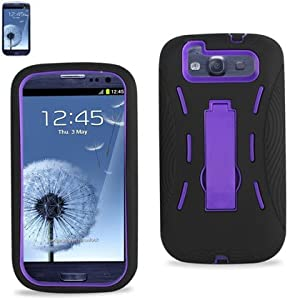 DragonPad BLACK/PURPLE Armor 3 IN 1 High Impact Combo Hard Soft Gel Case Stand For Samsung Galaxy S3 SIII I9300