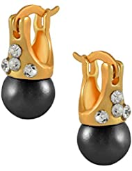 Sarah Pearl Stud Earring For Girls - Black