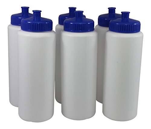 Sports Squeeze Plastic Water Bottles Push/Pull Cap Wide Mouth 32 Ounce BPA-Fr... (Sport Bottles Bulk compare prices)