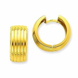 14k Polished Fancy Hinged Hoop Earrings