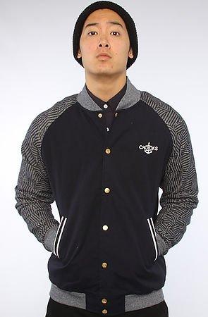 Crooks and Castles Mens Woven Baseball Jacket Wavy Dark Navy: X Large
