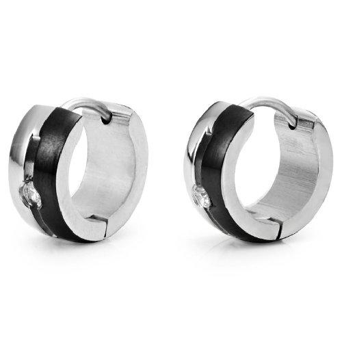 Beautiful Mens Cz Huggie Hoop Earrings Stainless Steel Cubic Zirconia (Silver Black)