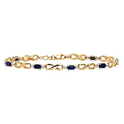 Ariel 9ct Yellow Gold Sapphire and Diamond Kiss Bracelet of 18.4cm