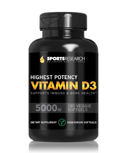 Vitamin D3 (Highest Potency) 5000Iu,180 Veggie-Softgels; Vitamin D3 Supports Immune And Bone Health; Helps Maintain Strong Bones, Teeth And Overall Bone Structure;Made In Usa