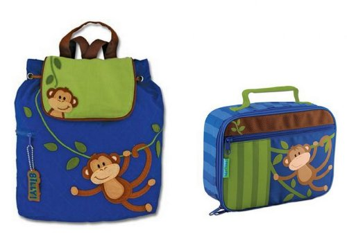 Stephen Joseph Quilted Backpack & Lunchbox, Monkey front-895893