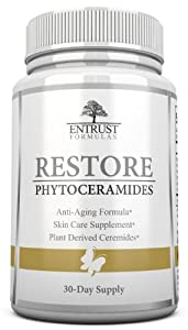 Phytoceramides - Highest Quality Plant Derived Phytoceramides. Superior Phytoceramides Made from Rice and 100% Wheat & Gluten FREE. ★ Ceramide Based Anti Aging Product and Capsules For a Natural Facelift For Rejuvination, Firming, Hydration & Moisturizing Of Skin Naturally. Premium Skin Supplement from Restore by Entrust Formulas with Trademarked Ceramide - PCD. Contains Optimal Daily Dosages Of Skin Vitamins A, C, D and E. Designed For Improvement Of Mature Skin And Prevention. 30-Day Supply & Money Back Guarantee!