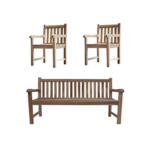 SAM® Sparset: 1 x Teak Holz Gartenbank, Sitzbank, Caracas, 150 cm, 2 x Teak Gartensessel, Gartenstuhl, Caracas