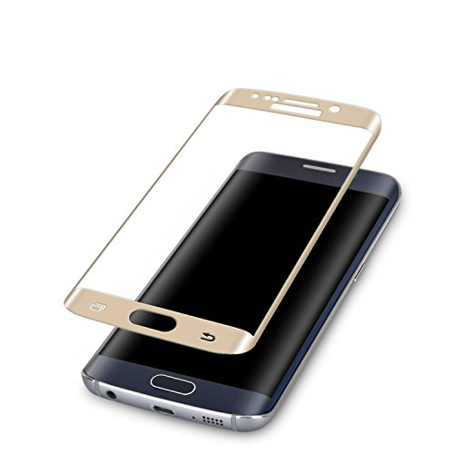 S6 Edge Screen Protector,ALCLAP Galaxy Tempered Glass Protective Shield Curved Full Coverage Premium HD Clear Film [Crystal Shield] Protector for Samsung Galaxy S6 Edge(Gold)