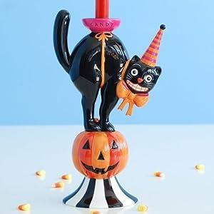 Glitterville Halloween Black Cat & Pumpkin Candle Holder, 12 Inches, Ceramic