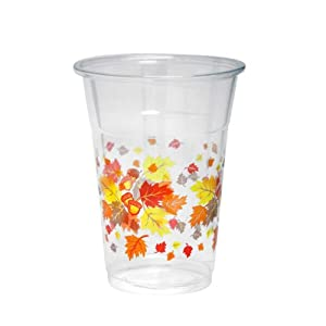 Party Essentials N162066 Partyware Soft Plastic Cup, 16-Ounce Capacity, Autumn Leaves Printing (Case of 500)