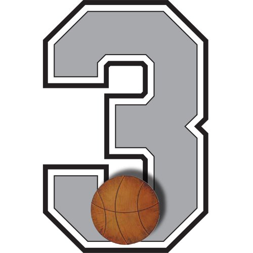 """""""3"""" Basketball Jersey Number Varsity Uniform Wall Sticker. Decal Numbers For Children'S, Nursery & Baby'S Sport Room Decor, Baby Wall Team Number Stickers, Boys Bedroom Wall Sports Decorations. Sports Balls Mural Walls Decals Baby Shower front-1022529"""