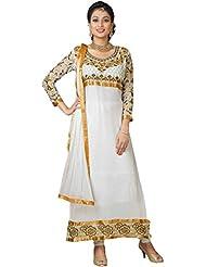 Women's Cream Russel Net & Georgette Straight Fit Semi Stitched Salwar Suit