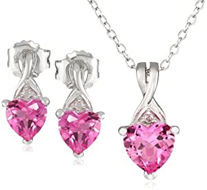 Sterling Silver Created Pink Sapphire with Diamond-Accent Heart Earring and Pendant Boxed Gift Set