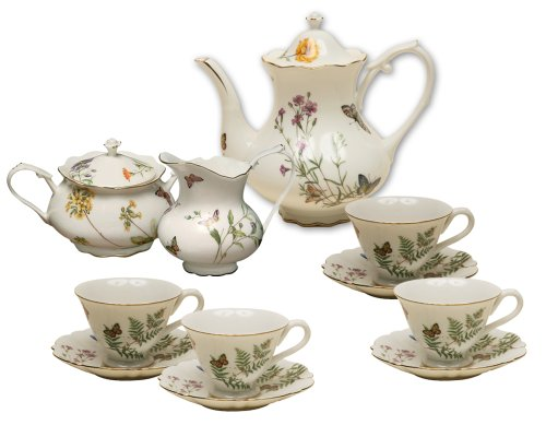 Why Choose Gracie China Butterfly 11-Piece Porcelain Tea Set, 4-Cup Teapot Sugar Creamer and Four 6-...