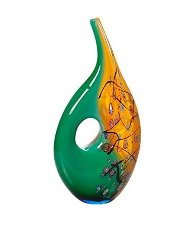 La Meridian Freeform Swirl Art Glass Vase, Amber/Green/Multi
