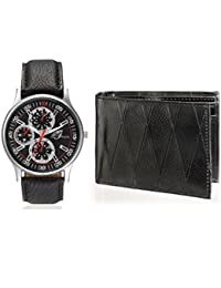 Arum Latest Design In Black Leather Watch&Black Wallet For Men