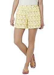 Chumbak Women's Shorts (CBSW029 M_Yellow_M)