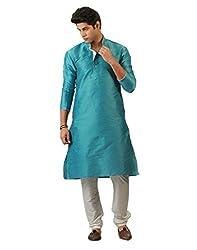 Amora Designer Ethnic Sky Blue Blended Silk Kurta For Men