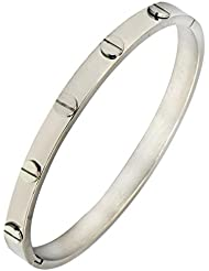 The Jewelbox Men Stainless Steel Oval Free Size Biomagnetic Kada Bangle Bracelet