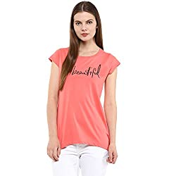 Fritzberg Soft Slim Printed Pink Round Neck Top