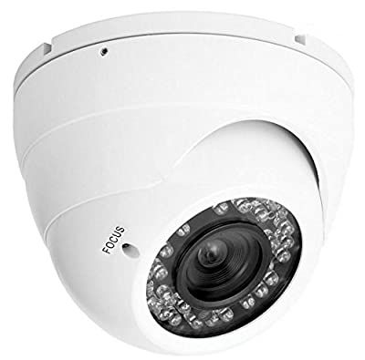 "Dome Camera - 850TVL 3089 Super Color 1/3"" Super CMOS 2 Megapixel - Low Illumination - Long Range 110ft/35m 36IR LED Night Vision Infrared - 4mm-9mm Varyfocus Lens - IP66 Outdoor/Indoor - Weatherproof - Vandalproof Aluminium Case- Video CCTV Security Surv"