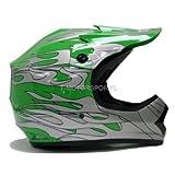 Youth Green Flame Motocross ATV Mx Off-road Dirt Bike Helmet DOT (Medium)