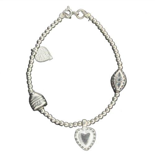Sterling Silver 5 3/4 Inch Beaded Heart Charm Baby Bracelet