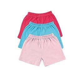Luvable Friends Shorts 3pk, Pink, 3-6 months