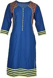 Artisan Women's Cotton Straight Kurta (CZF10027_M, Blue, M)