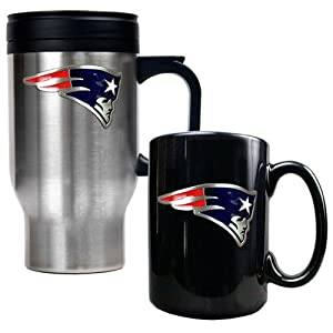 New England Patriots Stainless Steel Travel Mug&Black Ceramic Mug Set by Great American Products