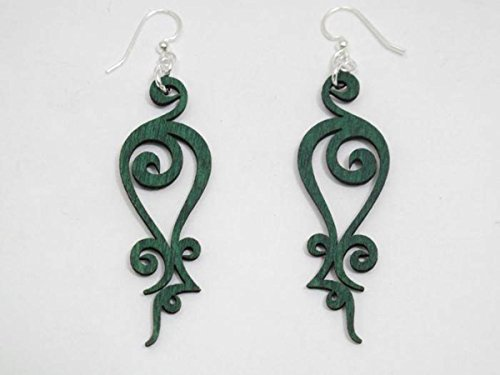 [Kelly Green Iron Loop Wooden Earrings] (Recycled Material Costume)