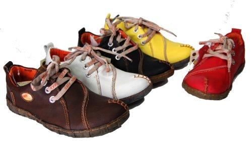 Leder Schuhe Damen Comfort Schwarz Braun Weiß Rot Gelb TMA Eyes
