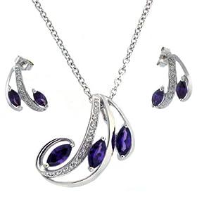 Necklace Earring Set Silver Swarovski Crystals Purple February Ameythst Birthstone Bucasi