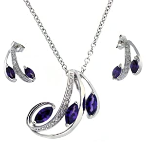 Necklace Earring Set Silver Swarovski Crystals Purple February Ameythst Birthstone Bucasi