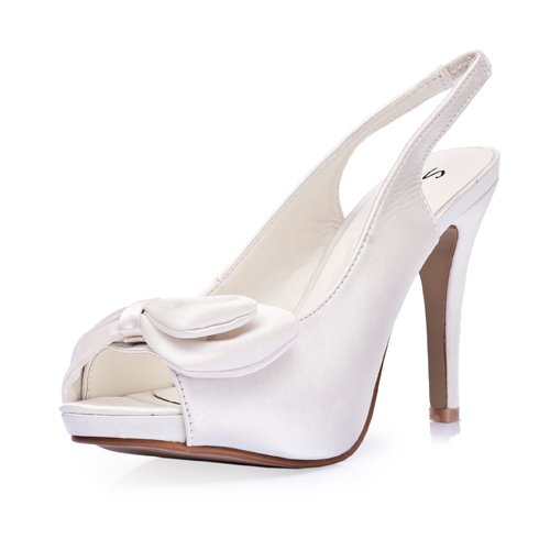 Women's Elegant Satin Upper High Heel Strappy Sandals With Bowknot Wedding Bridal Shoes (Size: 8 B(M) US/Ivory)
