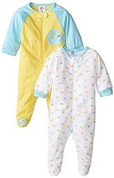 Gerber Unisex Baby 2 Pack Zip Front Sleep \'N Play, Elephant, 3-6 Months