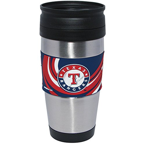 MLB Texas Rangers Stainless Steel Travel Tumbler with 3D Logo Wrap, 15-Ounce, Silver