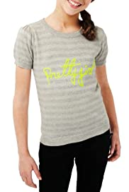 Autograph Cotton Rich Striped & Pretty Girl Slogan Jumper [T74-2010F-S]