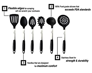 Kitchen Utensil Set - High Quality Black Silicone & Stainless Steel Cooking Tools (6 Pieces) - Includes a FREE Holder
