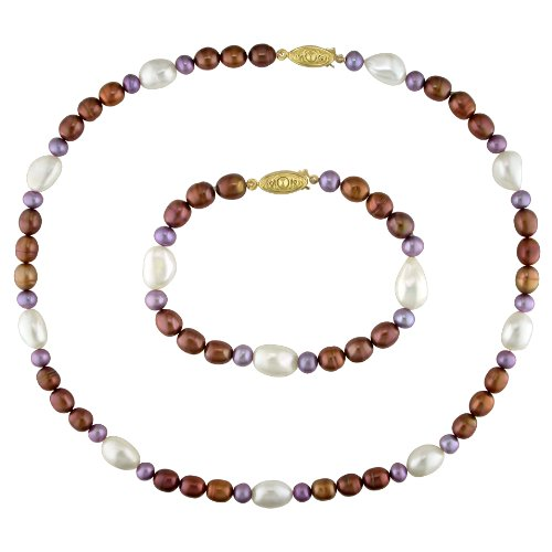 Fresh Water Pearl Brown, Dyed Purple and Irregular White Necklace Bracelet With Gold