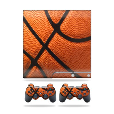 Protective Vinyl Skin Decal Cover for Sony Playstation 3 PS3 Slim Skins + 2 Controller Skins Sticker Basketball