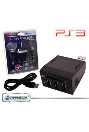 PS3 3-Port USB Hub Controller Expander with SD Card Reader